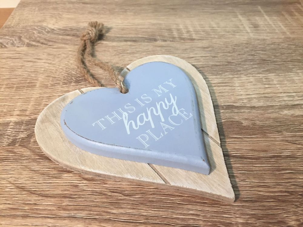 This Is My Happy place ~ Chunky Wood Hanging Heart Plaque